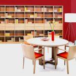 Jedálen, Brik kremnica, jedálenský stôl, stolička Andrea, knižnica Logo, dyhovaný luxusný nábytok