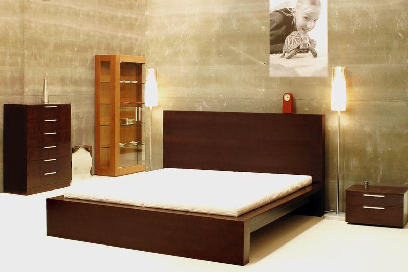 Posteľ MILA, Brik Kremnica, jednoduchá elegatná dizajnová posteľ , dyha dub