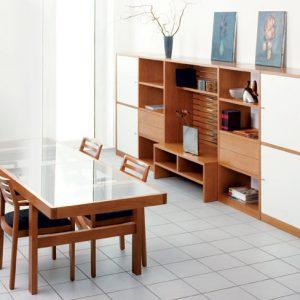 Obývacia zostava LOGO, dub a biela, retro zostava