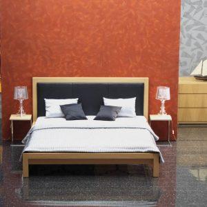 dizajnová posteľ Tanya s koženým čelom, dub, nábytok na mieru, Brik Kremnica