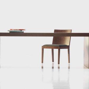 Stôl TRIS dyha dub tmavýorech, brik kremnica, moderný dizajnový nábytok na mieru