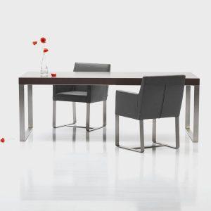 Jedálenský stôl NERO 3 so stoličkami a nerezovou podnožou, Brik krmenica, moderný nábytok
