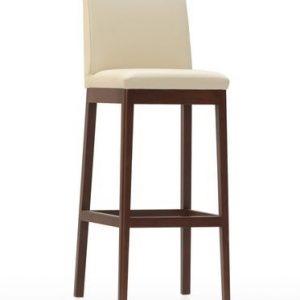 Barová stolička OLGA, masívna podnož, kožený sedák a operadlo, brik Kremnica