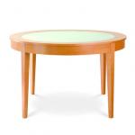 Stôl Okrúhly 2 so sklom, masívny, retro štýlový dizajn , Brik Kremnica, nábytok na mieru