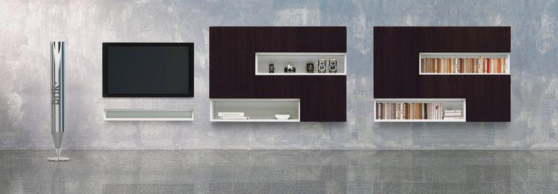 TV stena, obývacia zostava na STenu, wenge a biela, Brik Kremnica, dizajnový nábytok na mieru
