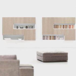 TV zostava, obývacia zostava na stenu , biela, DOMINO - BRIK Kremnica, moderný dizajn