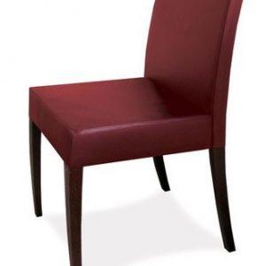 Stolička ESTA ES5, Brik kremnica, čalúnené, kožená bordová stolička s masívnymi nohami