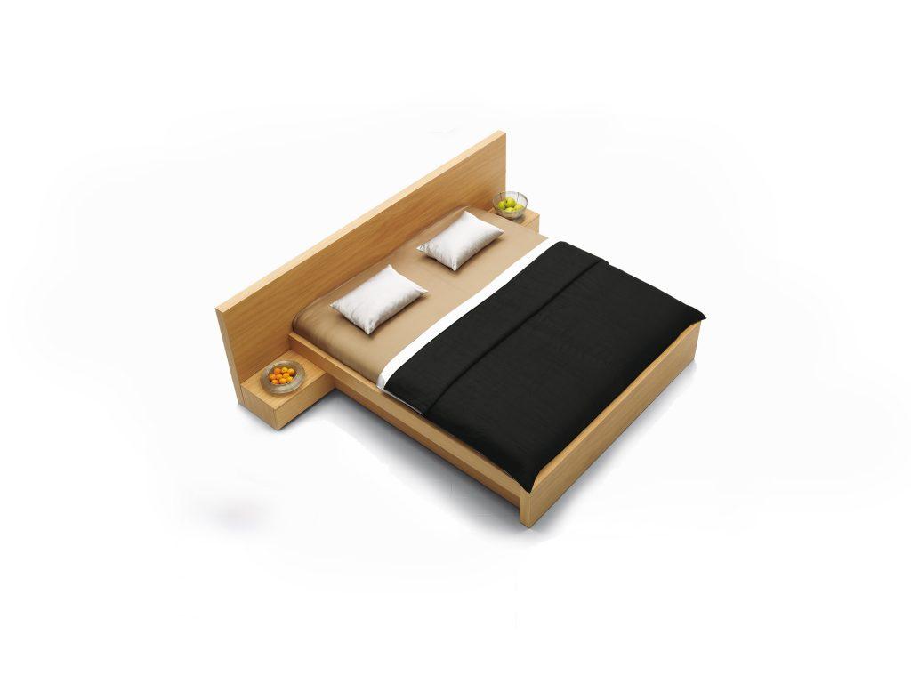 Celodýhovaná dizajnová posteľ LULU, prevedenie DUB , s nočnými stolíkami na čele postle. BRIK Kremnica