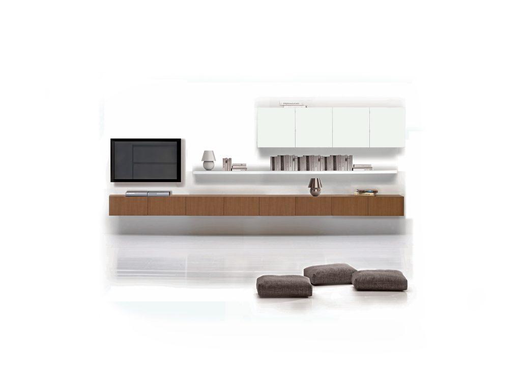 Moderná, minimalistická obývacia stena, TV stena, BRIK kremnica, biela, dub