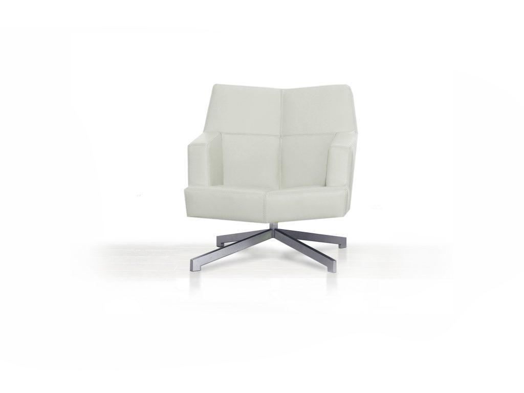 Dizajnové luxusné kreslo Rosy - Kožené , biele , nerezová podnož, Brik Kremnica