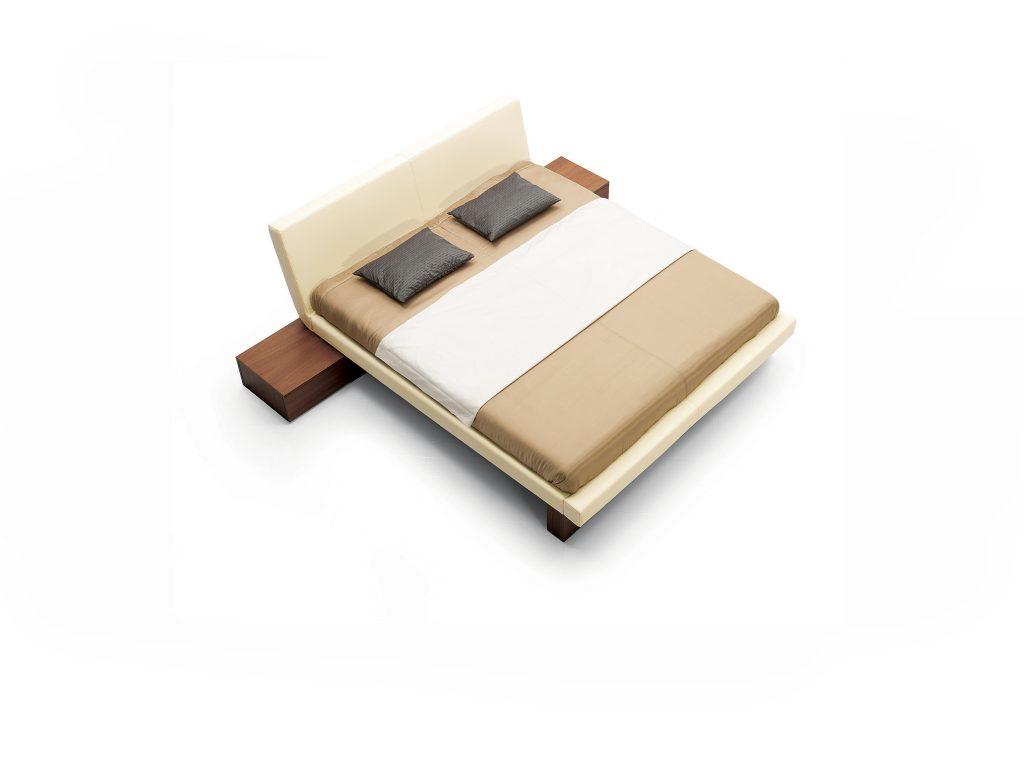Čalúnená posteľ SALOME, látková alebo kožená s dyhovanymi nočnými stolíkmi dub alebo buk, BRIK Kremnica