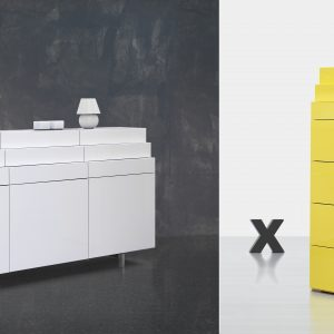 Elegantné dizajnové komody Scala 1 a Scala 2 v prevedení vysoký lesk žltá alebo vysoký lesk biela , vyrába BRIK Kremnica - zásuvkové komody