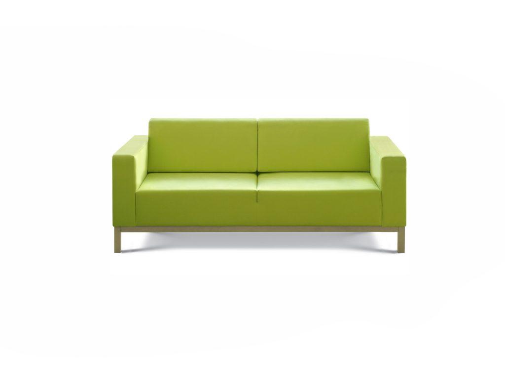 Zelená kožená sedačka VIVA, na nožičkách, pevné sedenie, Brik Kremnica