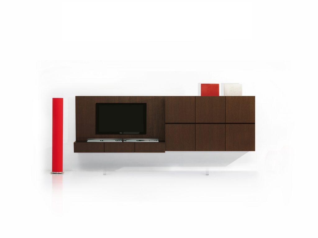 Moderná obývacia TV stena AVI, BRIk Kremnica, na stenu, tmavý dub , dyha