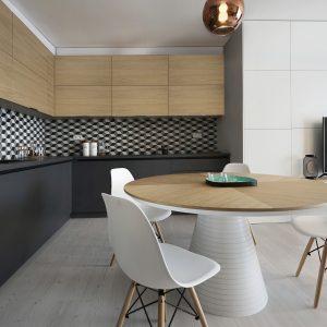 Realizácia interiéru na mieru v projekte Čerešne - kuchynská linka na mieru, okrúhly stôl BANGKOK - farba biela v kombinácií s dýhou dub prírodný