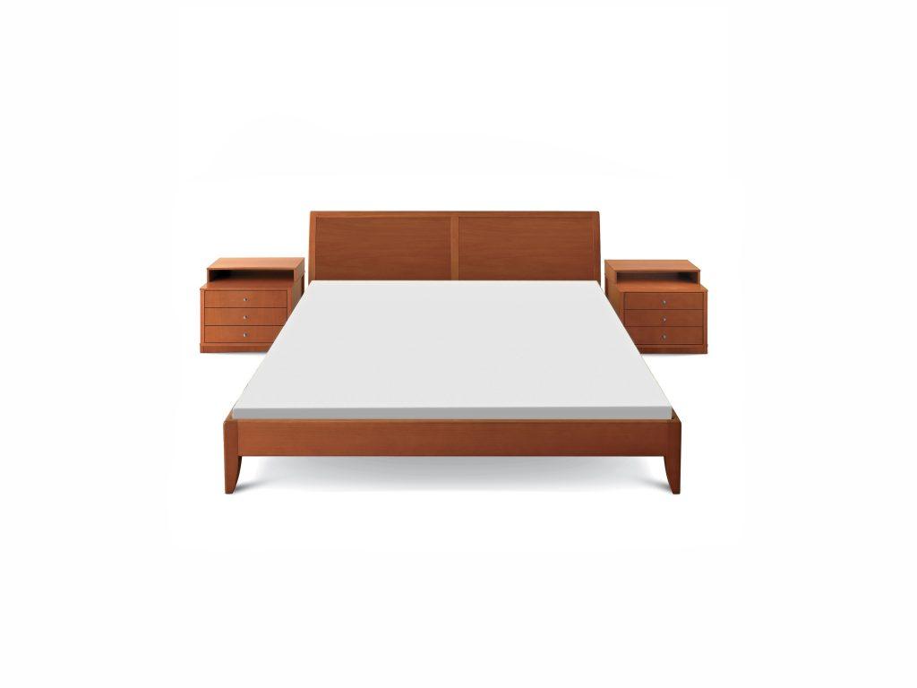 Retro posteľ FERDINAND , dub, buk, nočné stolíky - BRIK Kremnica