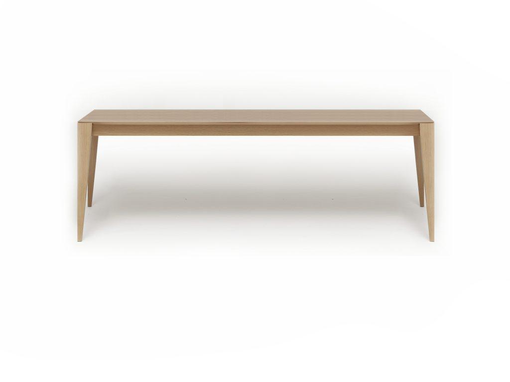 Jedálenský stôl Permon, dub, buk, so skosenými nohami. Dizajnový kúsok. Brik Kremnica