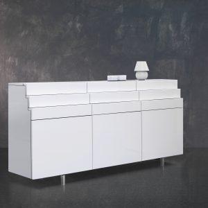 Komoda Scala zásuvková, dizajnová komoda vo vysokom lesku biela - vyrába BRIK Kremnica , dizajnová komoda