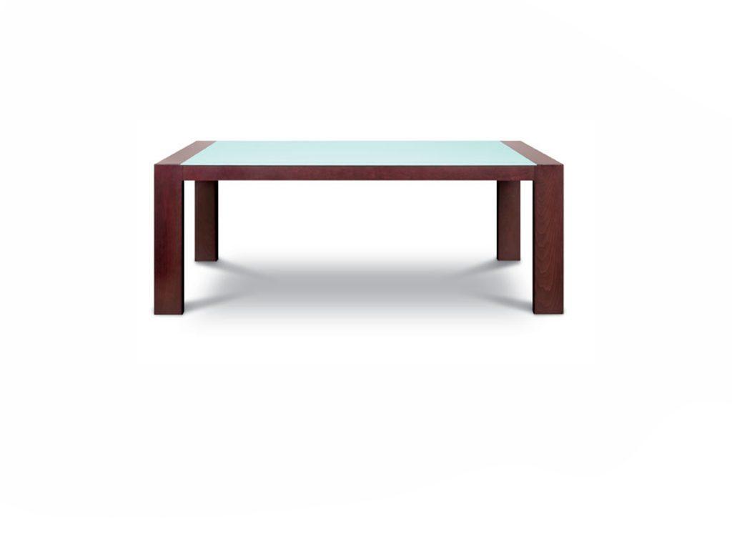 Jedálenský stôl KUBO so sklom, buk, dub, široké nohy. BRIK Kremnica