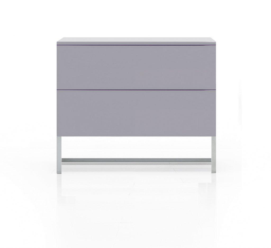 Nočný stolík INFINITO, sivý, matný, na nerezovej podnoži, BRIK Kremnica