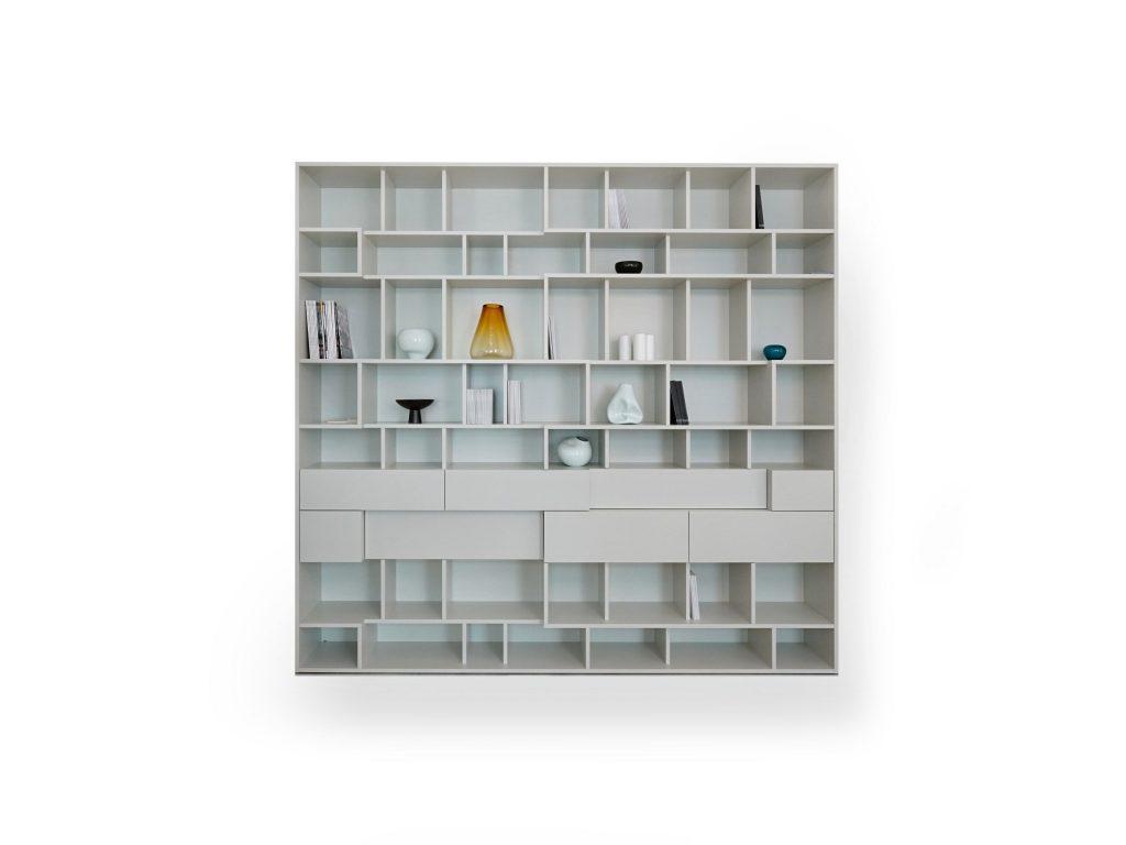 Knižnica Urban zásuvková, biela, vysoká, dizajnová, moderná knižnica - Brik kremnica