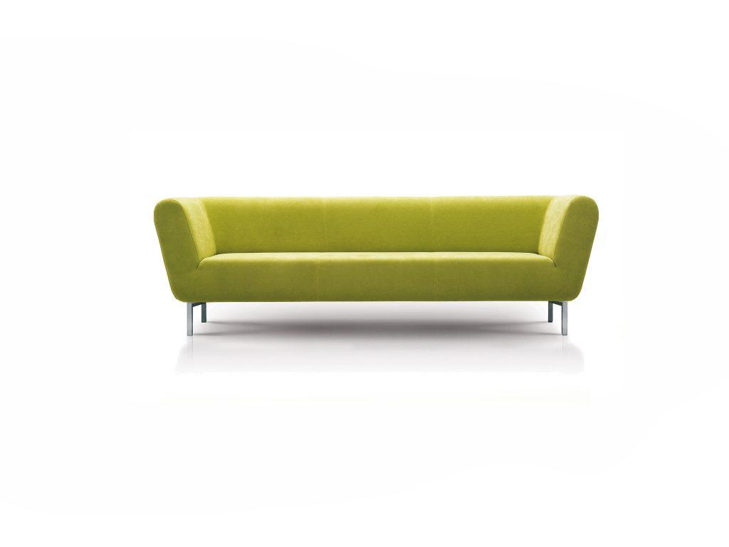 zelená látková sedačka ZINA, na nerezových nožičkách, dizajnová , moderná, Brik Kremnica