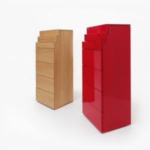 Vysoká zásuvková komoda od BRIK Kremnica vo vysokom lesku alebo dyhe - dizajnová komoda