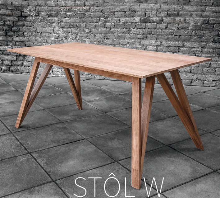 Moderný masívny stôl W olejovaný od spoločnosti BRIK kremnica