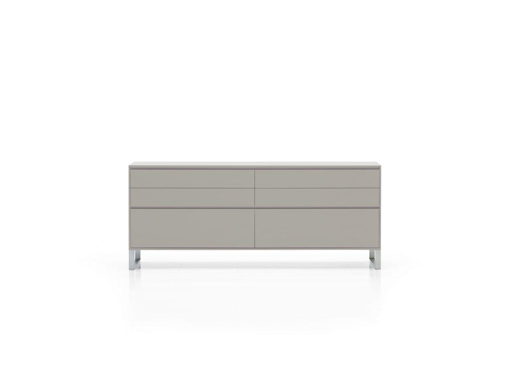 Elegantná dizajnová komoda TEchno v sivej farbe / matný nástrek na nerezových nožičkách, BRIK Kremnica