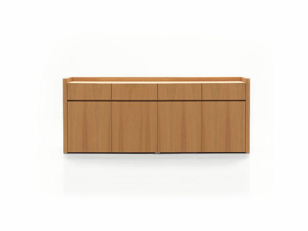 Dizajnová komoda BETA 4, zásuvkami a dvierkami , dub a buk, BRIK Kremnica