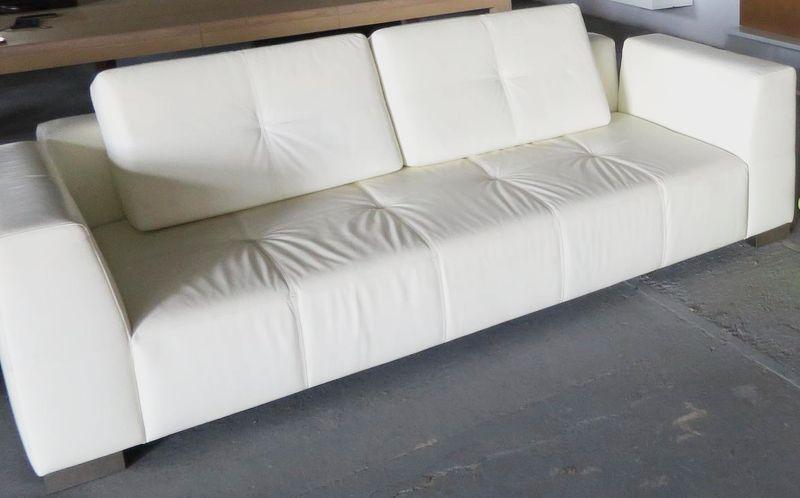 Kožená sedačka MODUS , smotanová koža, BRIK Kremnica