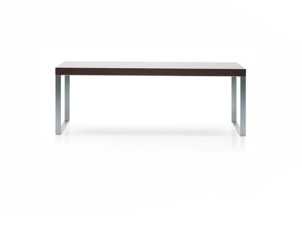 Dizajnový jednoduchý stôl NERO 3 s dyhovaným vrchným plátok a nerezová podnož, BRIK Kremnica